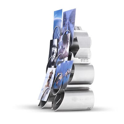 Example of a designer photo frame made entirely of metal