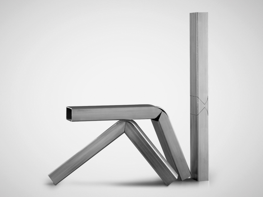 Cut and bent process to reduce the number of components in a frame.