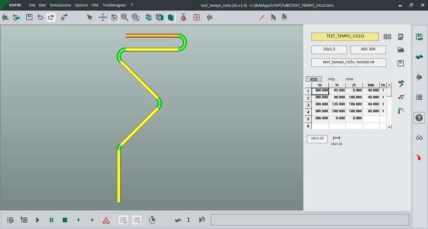 analisi tempi ciclo curvatura del tubo