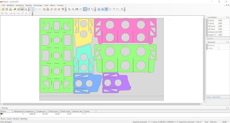 Nesting dei componenenti di un attrezzatura di il taglio laser 3D generata in modo automatico con ArtCut.