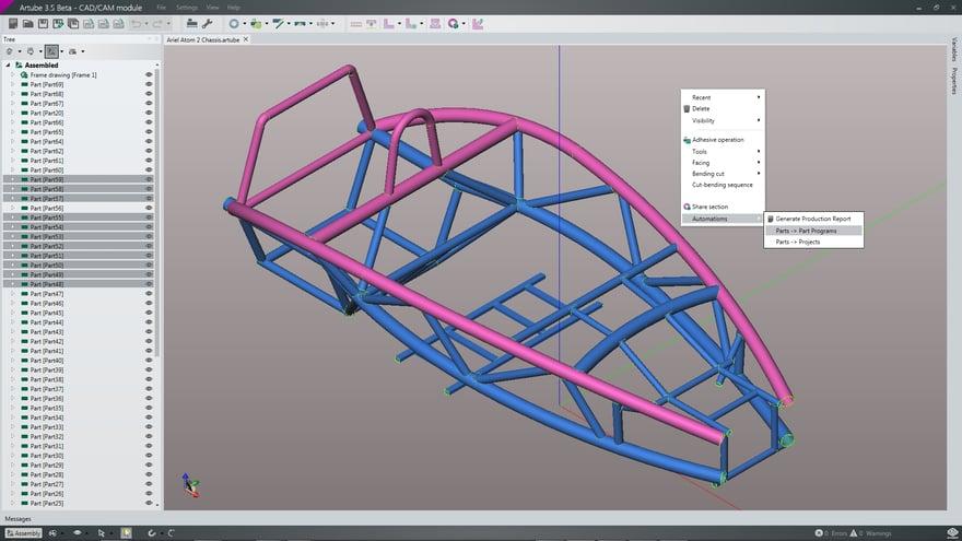 Programmazione di un telaio su CAD/CAM Artube.