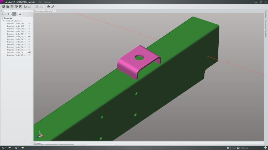 C shaped bracket modelled on tubular frame component with Artube