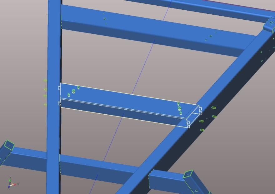 """Funzione """"Tab and slot"""", utilizzata per garantire il corretto assemblaggio degli elementi di un telaio tubolare."""
