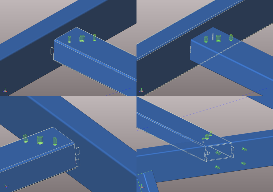 """Connection between parts of a tubular frame made with """"slot and tabs"""" functionality"""