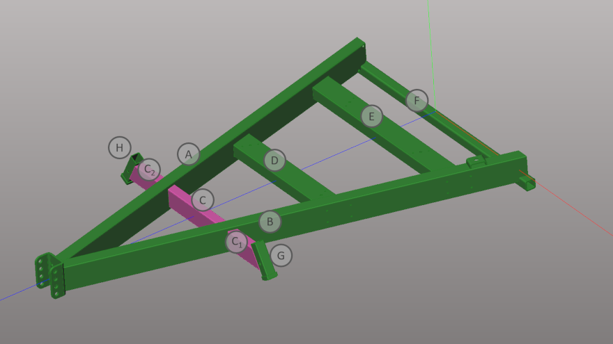 3D sketch of tubular frame to be produced