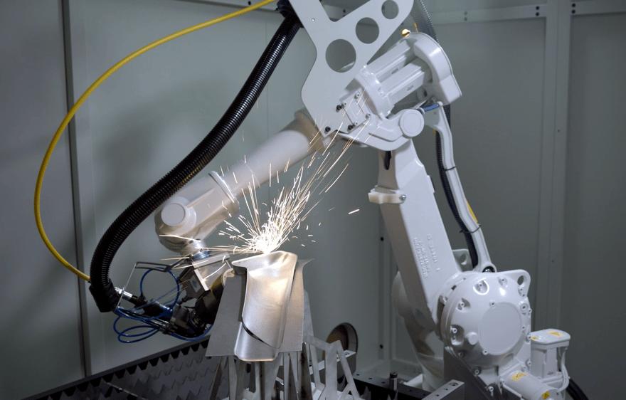 Robotic laser cutting on a deep-drawn part