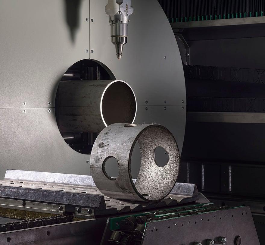 Scarico automatico pezzi corti su sistema lasertube