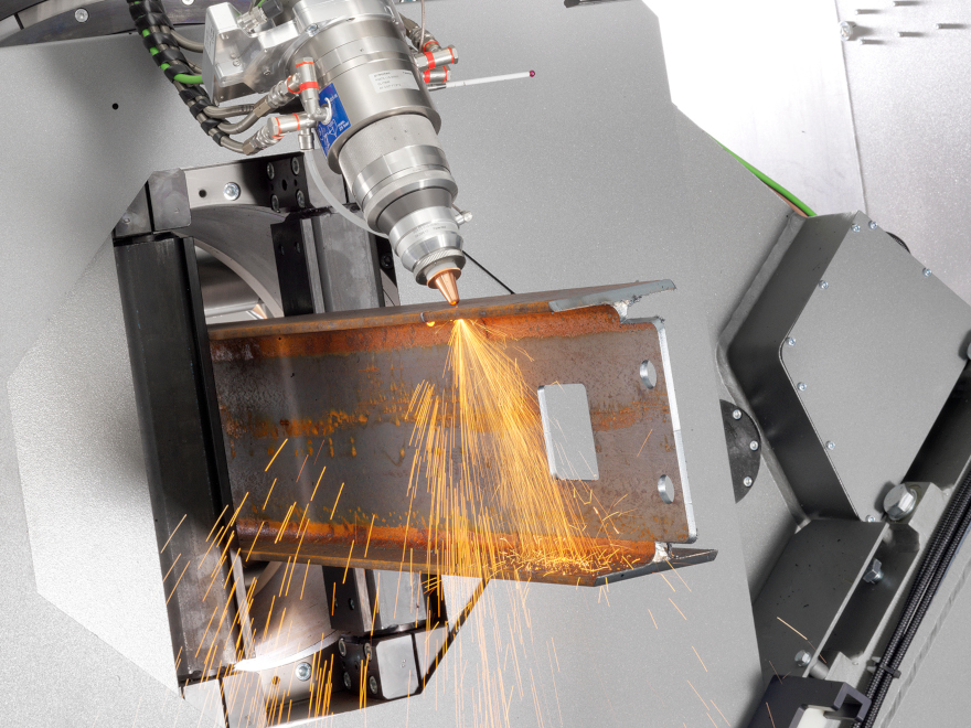 Laser cutting of IPE beam with LT14 laser-cutting system for large tubes and profiles